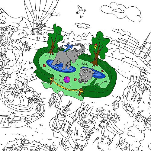 Farbstoffe Für Kinder Zooland. Ausmalbilder Für Kinder Und Ewachsene. Farbe Ich Pakate Für Familie. Großes Riesiges Farbtonplakat