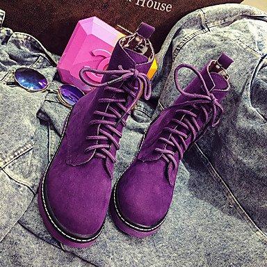 Bottes pour femmes PU confort décontracté ressort plat noir rouge violet Ruby