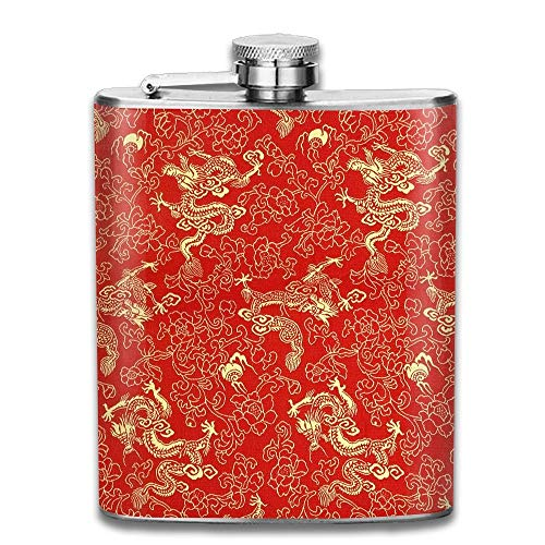 Hoklcvd Fragment of Red Chinese Silk with Golden Dragons and Flowers Gift for Men 304 Stainless Steel Flask 7oz -