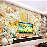 Y-Hui Large Fresco 3D Stereo Wallpaper Living Room TV Background Wallpaper Jade Carving Seamless Wall Cloth House and Fugitive,180cmX120cm