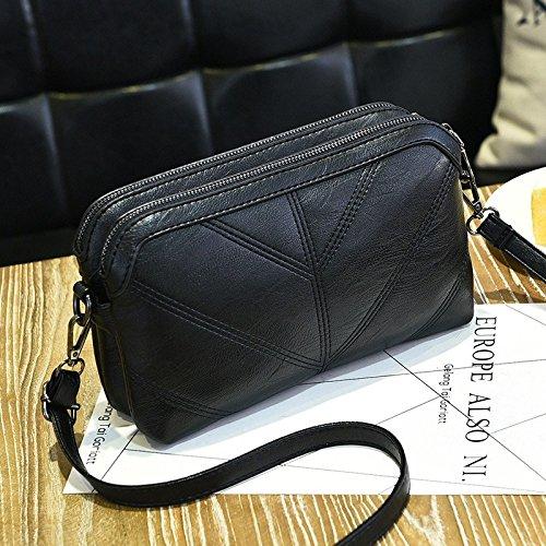 Sprnb Tutti-Match Borse Moda Ricamato Femmina Di Linea Sacchetta Casual Bag,Grigio Scuro Black
