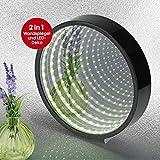 EASYmaxx 06723 Tunnellicht | Spiegel mit Integrierten LEDs für 3D-Tunneleffekt | Batteriebetrieben | Schwarz
