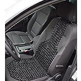 2er Set Auto-Sitzauflage mit echten Holzkugeln - Nostalgie Auflage Autositz - Massage Sitzbezug Holzperlen - universeller Passform - schwarz 127 x 38