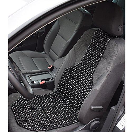 Auto-Sitzauflage mit echten Holzkugeln - Nostalgie Auflage Autositz - Massage Sitzbezug Holzperlen - universeller Passform - schwarz 127 x 38,5 cm