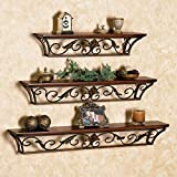 #7: Brown Iron, Wooden Wall Shelf (Set of - 3)