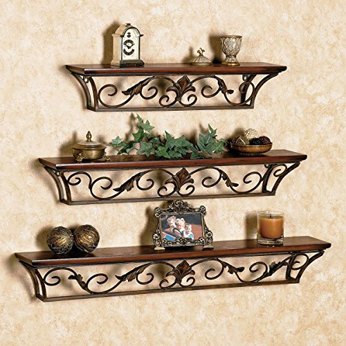 Brown Iron, Wooden Wall Shelf (Set of - 3)