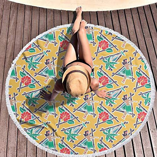 hulil Extra Large Thick Round Beach Towel Maui Pop Hula Honey Yellow Microfiber Yoga Mat Blanket Towel 59