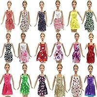 Fat-catz-copy-catz 15 Items Doll Dresses Clothes & Shoes Bundle: 5 dresses, 5 shoes & 5 Hangers Made for Barbie Dolls