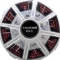 8 IN 1 vorkompilierte Coil Kit Vorgefertigte Spulen in Riesenradbox, 48 PCS Clapton Coil Vorgefertigte Spulen