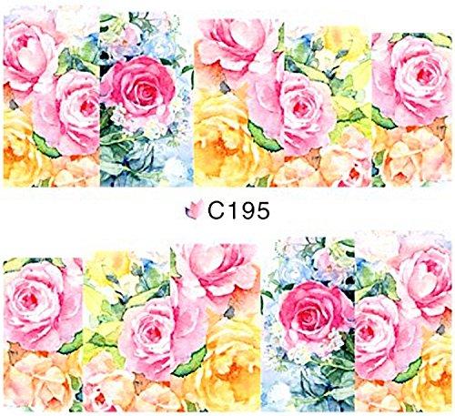1 planche de Slider/Wrap/Full Cover Nail Stickers pour ongles, Hydrosoluble : C de 195 romantique roses