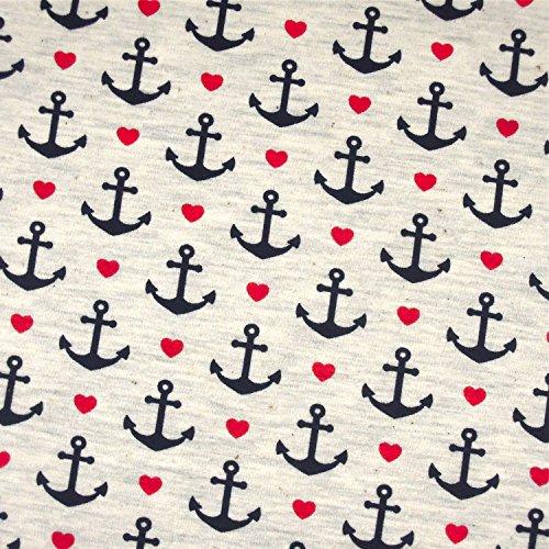0,5m Jersey Anker & Herzen weiß melange 5% Elasthan 95% Baumwolle Meterware 140cm breit