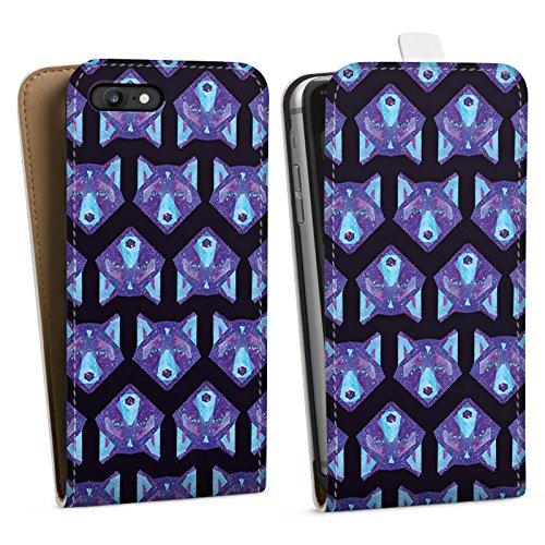 Apple iPhone X Silikon Hülle Case Schutzhülle Space Wolf Muster Galaxy Downflip Tasche weiß