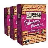 MICHEL ET AUGUSTIN - Biscuits Palmiers Allongés au pépites de Framboise 120g Lot de 3