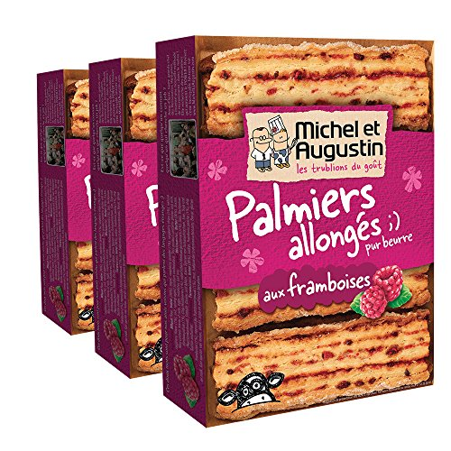 Michel et Augustin Palmiers Allongs Framboises 120 g - Lot de 3