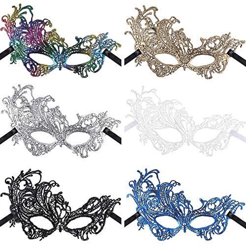 6 Piezas de Máscaras de Mascarada de Multicolor Máscara de Encaje Máscara Veneciana Máscara de Halloween Fiesta Mardi Gras