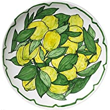 LIMONI-Piatto di ceramica smaltata con limoni decorata a mano,dimensioni diametro cm 25,5 altezza cm 3,4-MADE in ITALY Toscana Lucca, certificato.