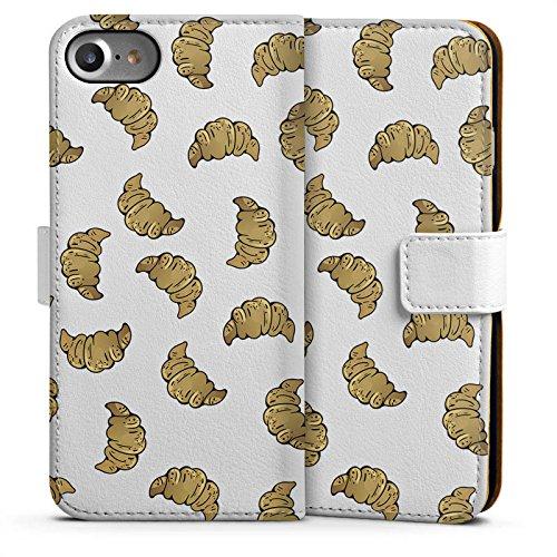 Apple iPhone 6 Plus Silikon Hülle Case Schutzhülle Croissant Muster Essen Sideflip Tasche weiß