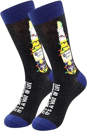 BONANGEL Calzini Vestito Arte da Uomo Calze Fantasia Uomo Calze Lunghe in Cotone Calzini Stampato Famose Moda Colorate Divertente Disegni