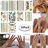 Tatuajes Temporales Niñas Metálico Etiqueta Engomada Del Tatuaje Temporal Body Fake Jewelry Tatuajes 10 Hojas para Mujeres Adolescentes Niñas (Flor colorida)