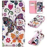 Funda iPhone 6S,Funda iPhone 6,Carcasas para iPhone 6,Carcasas para iPhone 6S,EMAXELERS Funda Piel para iPhone 6S,iPhone 6 Lujo Caso,Funda Cuero para iPhone 6 6S Soporte Plegable, Ranuras para Tarjetas y Billetes, Estilo Libro, Acceso a Botones, Cierre Magnético,Carcasas Apple iPhone 6 / 6S 4.7 inch Colorful butterflies