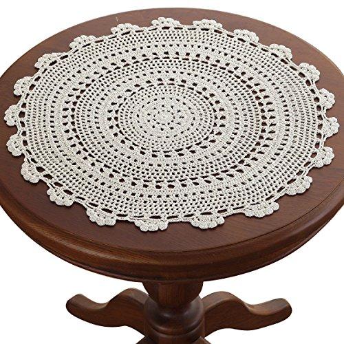Gracebuy Tischdecken, rund, handgefertigt, gehäkelte Spitze, 27,9-48,3 cm, Beige, Baumwolle, beige, 0
