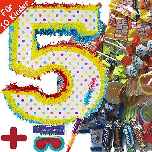 Preisvergleich Produktbild Pinata Set: * ZAHL 5 * mit + Maske + Schläger + 100-teiliger Süßigkeiten-Füllung No.1 von Carpeta© / / Handgefertigte spanische Pinata. Tolles Spiel für Kindergeburtstag oder Mottoparty