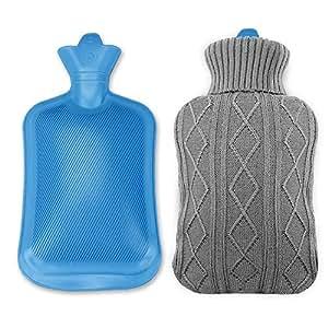Infreecs bouillotte avec housse en tricot douce 2l bouillotte caoutchouc pour main hot water for Housse bouillotte tricot
