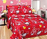 Riyasat - Hello Kitty Pink Printed Double Bed Sheet Set (230x250 cm) Glace Cotton Fabric best price on Amazon @ Rs. 699