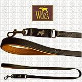 Woza Premium HUNDELEINE 18/110 FRANZÖSISCHE Bulldogge Vollleder SCHWARZ RINDNAPPA Cognac Handmade Lead