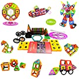 BTSD-home Magnetic Building Blocks Magnet Tiles Educational Stacking Blocks Boys Girls Toys For Children Educational And Creative Imagination Development (108 PCS)