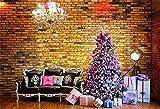 YongFoto 1,5x1m Foto Hintergrund Neujahr Weihnachtsbaum Schwarzes Ledersofa Leuchter Sterne Lichter Scheinwerfer Ziegelwand Holzboden Fotografie Hintergrund PhotoBaby Party Banner Kinder Fotostudio