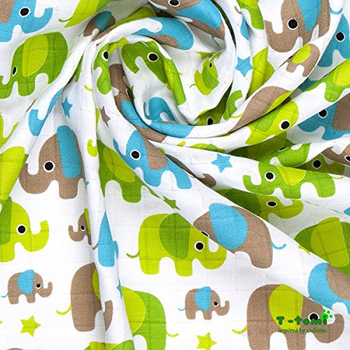 t-tomi Bambus Swaddles, grün Elefanten
