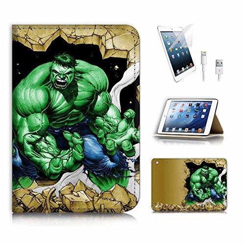 (für iPad Mini 123, Generation 1/2/3) Flip Wallet Schutzhülle & Displayschutzfolie & Ladekabel Bundle. A3937grün Hulk Super Hero (Case 3 Hulk Ipad)