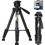 Endurax 167 cm Trípode de cámara de vídeo para Canon Nikon Sony Aluminio Ligero Soporte de cámara DSLR con Soporte Universal