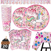 Kompanion 82 Piece Unicorn Party Supplies Set Including Banner, Plates, Cups, Napkins and Tablecloth - Pink Theme, Serves 20