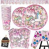 82 Piezas–Vajilla Diseño de Unicornio Desechable–Accesorio de Decoración de Fiesta de Cumpleaños-Apoyo para Celebración–Pancarta,Platos, Vasos, Servilletas y Mantel Resistente–20 Invitados Color Rosa