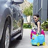 KOS GROUP® 3 in 1 Kinder Ziehkoffer Hartschalen Koffer Blau