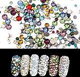 1440 Stück gemischte Farben Crystal Flatbacks flach zurück Strass Runde Kristall Edelsteine für Handwerk Gesicht Körper Augen Nägel Make-up Festival Karneval Mix Größe 1,4 mm - 4 mm