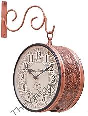 Vintage Clock Handicraft Double-Side Iron Clock (26 cm x 21 cm x 26 cm, Brown, VC-6547(8)