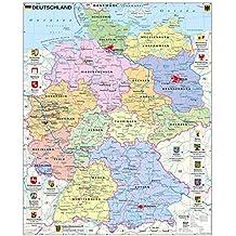 Deutschland politisch mit Wappen - Wandkarte / Poster
