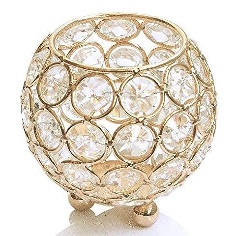 VINCIGANT Verre Cristal Perles Tealight Votive Bougeoir 8cm Diamètre pour Décorations de Centre de Mariage