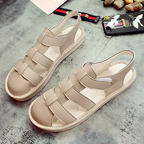 Lgk & fa estate sandali Baotou sandali da donna estate tempo libero a fondo piatto scarpe da donna Apricot