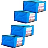 Amazon Brand - Solimo 4 Piece Non Woven Fabric Saree Cover Set with Transparent Window, Extra Large, Blue