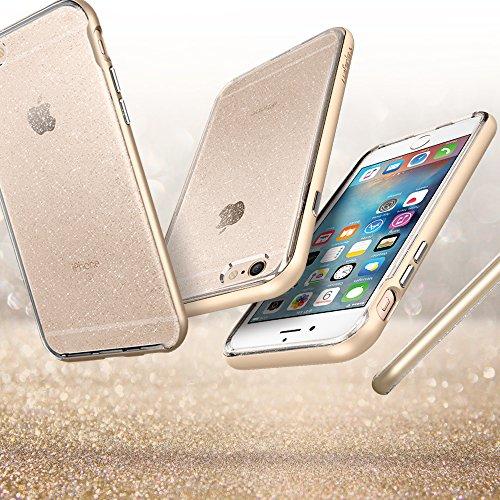 iPhone 6S Hülle, Spigen® [Neo Hybrid Crystal] Glitzer Design [Rose Gold] 2-teilige Premium Handyhülle Glänzende Silikon TPU Schale + PC Farbenrahmen Dual Layer Schutzhülle für Apple iPhone 6S Case Cov NHCG Champagne Gold