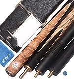 J&Y - Conjunto de taco de billar (3/4, hecho a mano, 57'', arce, extensión Minibutt), caja de aluminio Ash Shaft