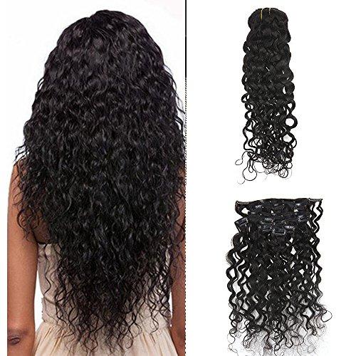 Full Shine 24 Zoll/60cm Clip In Extensions Echthaar HaarVerlängerung Set 7 Haarteile 100 Gramm 100% Real Human Hair Extension Water Wavy Natural Black (24 Schwarze Clip In Haar Extensions)