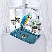 perfecti Perchoir Perroquet en Acier Inoxydable Oiseaux Perches Perroquet Stand Jouet avec Mangeoire Formation…