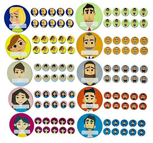 Team Avatar Icon Set (10 verschiedene Avataren = 5 Frauen und 5 Männer in 10 Farben mit 10 großen Magneten ø 6cm, 100 kleinen ø 1,7cm und einem wasserlöslichem Stift)