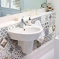 Ambiance-Live Pegatina baldosa hidráulica para pared –Azulejos -15x 15cm–24piezas