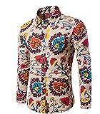 CHENGYANG Herren Slim Fit Freizeit Hemd Langarm Blumen Drucken Shirts Top Blouse Hemden (Style#11, 2XL)